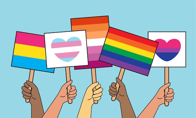 Hands holding signs, banners and placards with lgbtq symbols