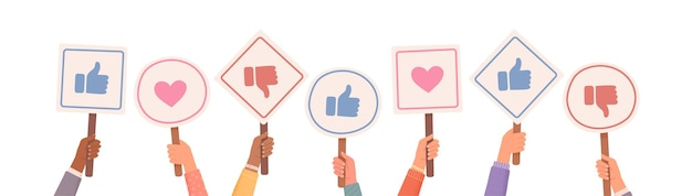 Hands holding signs with likes and dislikes