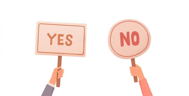 Руки держат знаки да или нет
