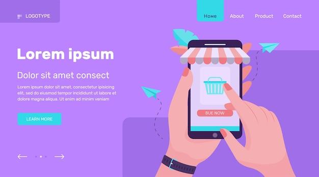 スマートフォンを押しながらオンラインストアで購入する手。電話、販売、バイヤーフラットベクトルイラスト。ショッピングとデジタルテクノロジーのコンセプトのウェブサイトのデザインまたはランディングウェブページ
