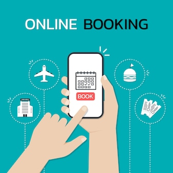 Hands holding a smartphone and touch on the screen while use online booking mobile application.