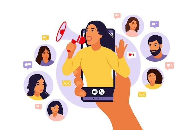 시끄러운 스피커에서 외치는 소녀와 스마트 폰을 들고 손. 인플 루 언서 마케팅, 소셜 미디어 또는 네트워크 프로모션