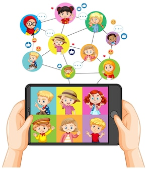 Hands holding smartphone with different kid on smartphone screen