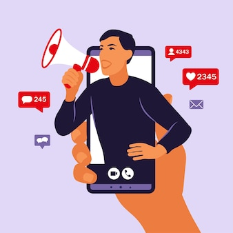 Hands holding smartphone with a man shouting in loud speaker. influencer marketing, social media or network promotion. blogger promotion services and goods for her followers online. vector.