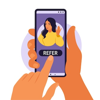 Hands holding smartphone with a woman social media profile or user account refer a friend following concept for add, illustration flat