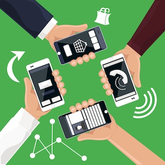 Hands holding smartphones telephones that call send sms bought products online cartoon flat design style