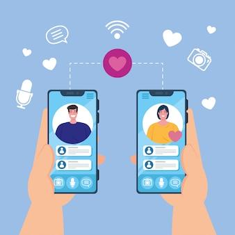Руки, держащие смартфоны, видеозвонок на экране с парой, концепция социальных сетей