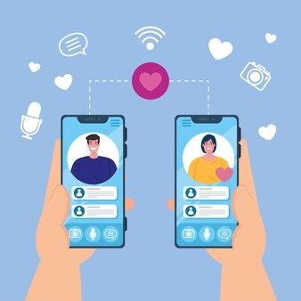 カップル、ソーシャルメディアの概念が画面にスマートフォンのビデオ通話を持っている手