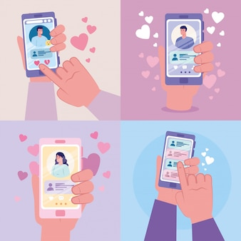Hands holding smartphones with woman and men chatting