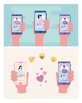 Hands holding smartphones with women and men chatting