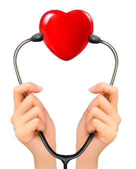 Hands holding a stethoscope with red heart.
