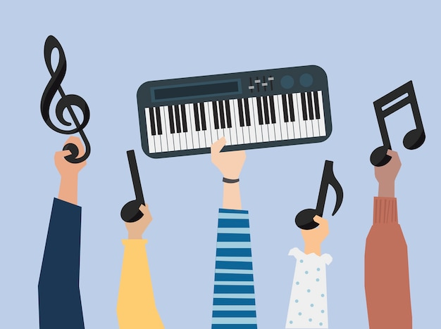 Hands holding a synth and music notes illustration