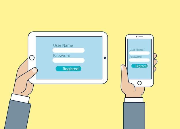 タブレットpcスマートフォンのタッチ画面アイコンを持っている手フラットスタイルの携帯電話デジタルセットwebサイト