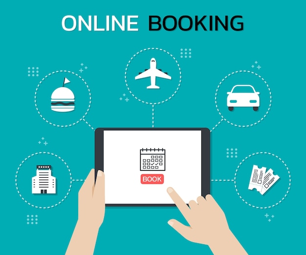 Hands holding a tablet and touch on the screen while use online booking mobile application
