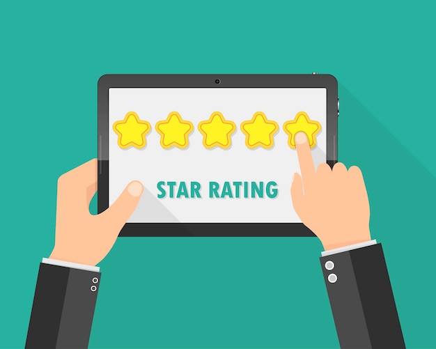 Hands holding a tablet with rating stars. illustration