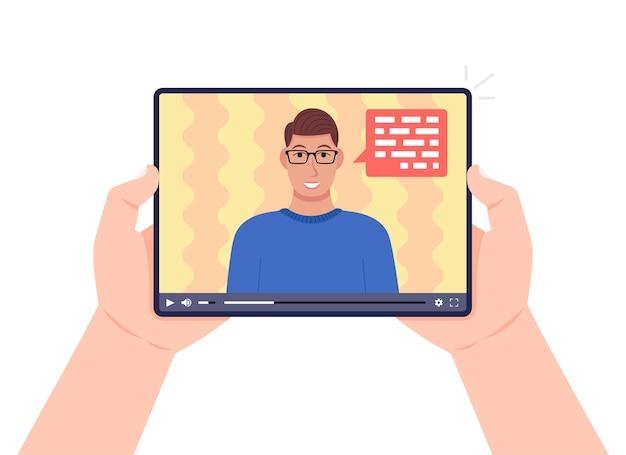 画面でビデオオンラインウェビナーとタブレットを保持している手。ビデオで話している男性。オンライン学習、eラーニングの概念。