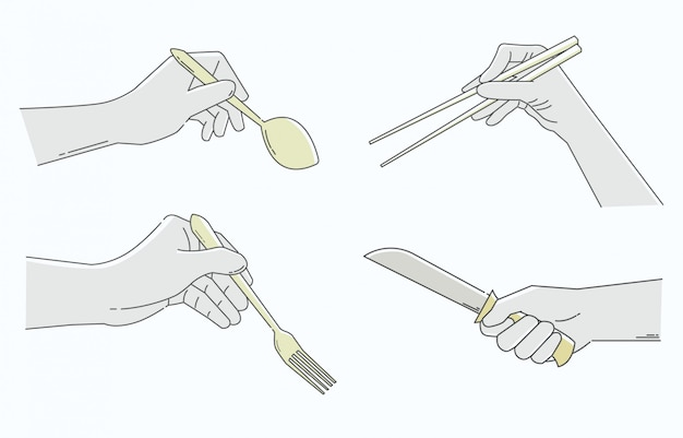 Hands holding tableware