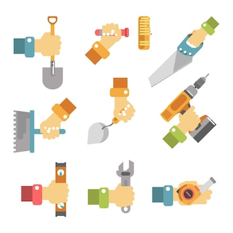 Hands holding tools colorful vector poster on white