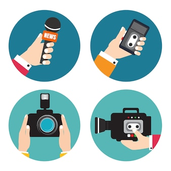 Hands holding voice recorders, microphones, camera. voice recorder vector. live news. press illustration.