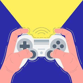 Hands holding white gamepad. gamer plays. vector illustration.