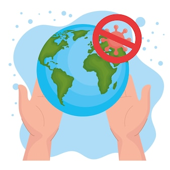 Руки держат мир и вирус covid 19 с дизайном запрета коронавирусной инфекции ncov cov 2019 и короны