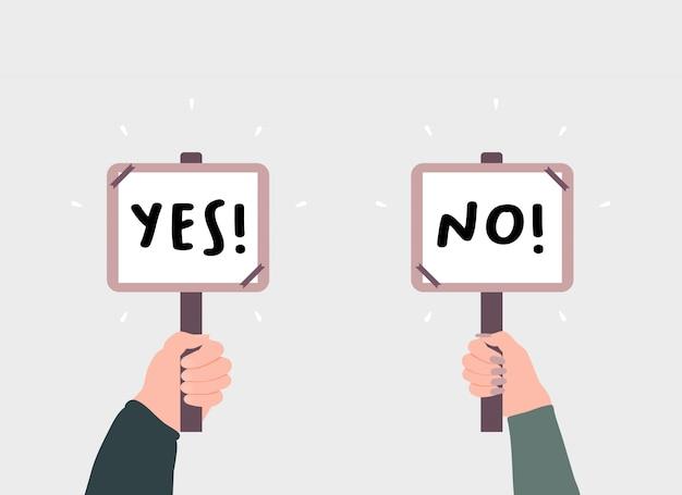 손 나무 막대기 만화에 예 및 아니요 표시를 들고. 선택, 투표 및 딜레마의 개념