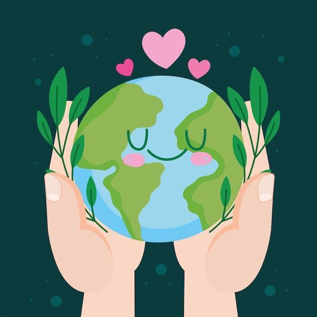 손 보유 귀여운 행성