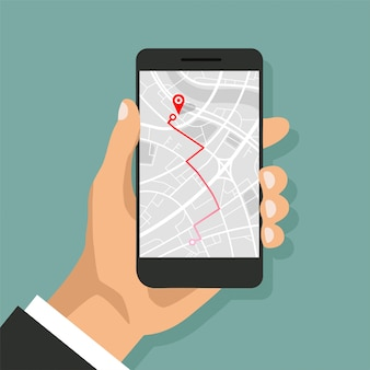 Hands holds smartphone with map navigation on a screen. gps navigator with red pinpoint. city map with point markers. vector illustration.