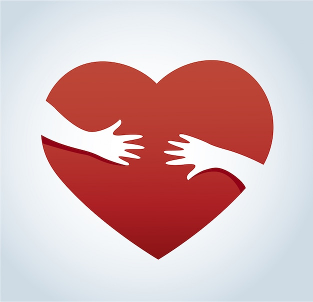 Hands hugging the heart vector
