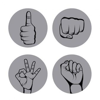 Hands human set collection symbol