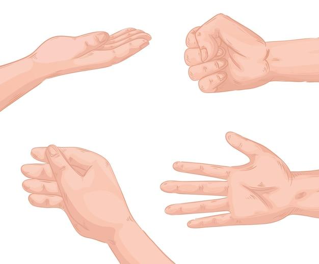 Руки люди набор символов иконки дизайн