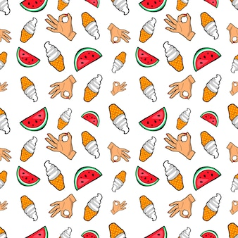 Hands ice cream and watermelon seamless pattern.  background in retro comic style
