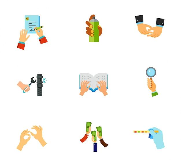 Set di icone mani