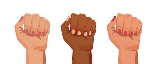 Руки в кулак. жестами. иллюстрации шаржа.