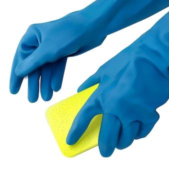 Руки в синих перчатках держат губку для мытья посуды на белом фоне в 3d иллюстрации