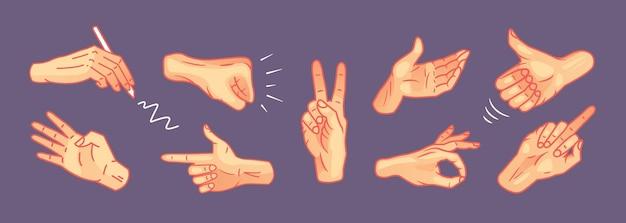 다른 제스처 벡터 세트에 손. 몸짓 신호 수집을 보여주는 손. 다양한 팔 표시 및 제스처 감정 격리.