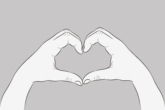 심장 모양에 손입니다. 사랑 기호의 제스처입니다. 스케치 스타일의 그림입니다. 벡터.