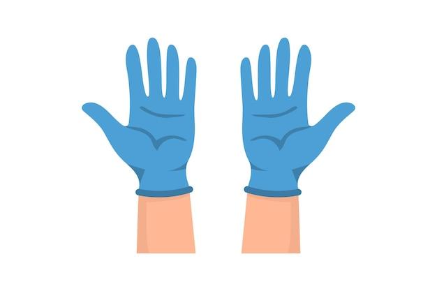 의료 장갑에 손입니다. 감염과 박테리아 감염을 방지하기 위해 손에 고무 장갑을 끼세요. 라텍스 보호장갑. 바이러스 및 박테리아에 대한 벡터 일러스트 레이 션 평면 디자인 보호
