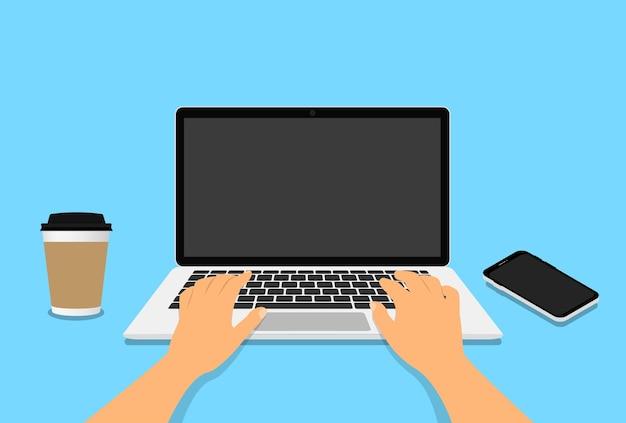 테이블에 빈 모니터 화면 노트북 키보드에서 직장에서 손. 커피 한 잔, 전화가있는 직장. 삽화.