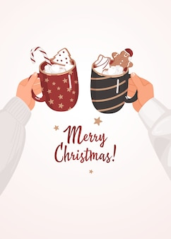 Hands keeping mugs of cocoa with marshmallows, gingerbread man