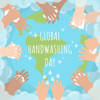 Hands of kids washing around the globe with soap bubble for global handwashing day