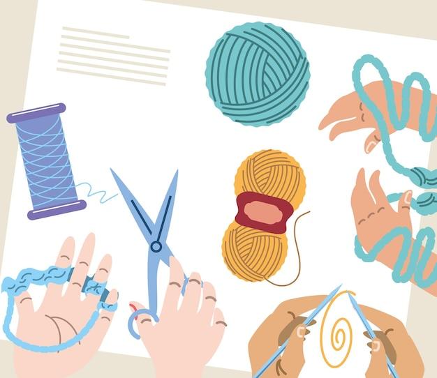 Hands knitting process