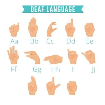 Hands language. deaf human gestures alphabet emoji of hands palm fingers pointing hold vector illustrations set. deaf language hand, finger gesture for communicate