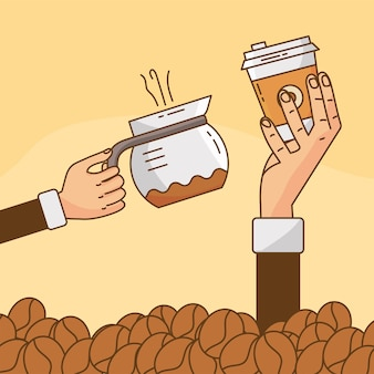 Hands lifting coffee drink in teapot and plastic container with grains illustration