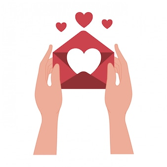 Hands lifting love heart isolated icon