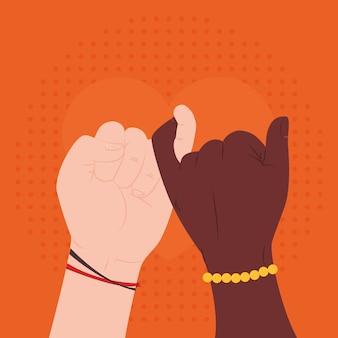 Hands making promise gesture illustration