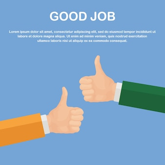 Hands of many businessmans with thumbs up. positive feedback