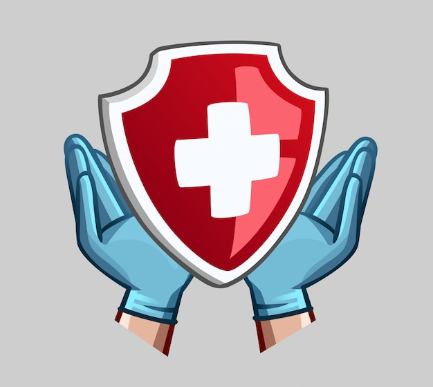 Hands in medical gloves and heart with cross