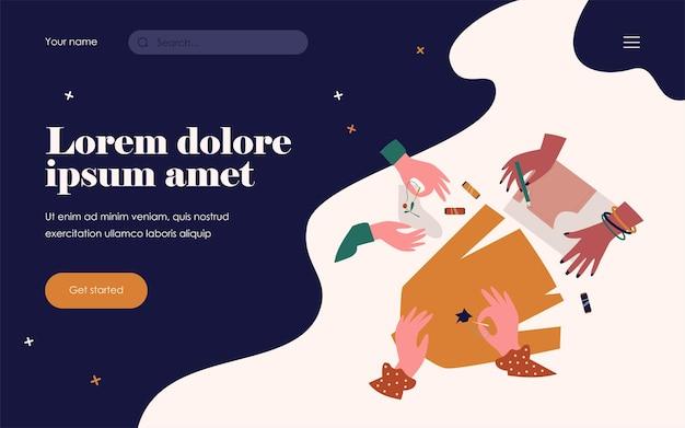 Руки штопают одежду и шьют иглой. носок, вышивка, резьба плоская векторная иллюстрация. концепция вышивки и ручной работы для баннера, дизайна веб-сайта или целевой веб-страницы
