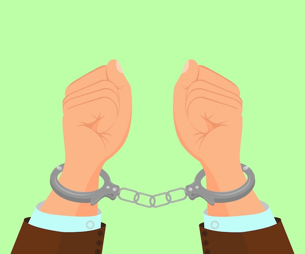 Hands in metal handcuffs   illustration
